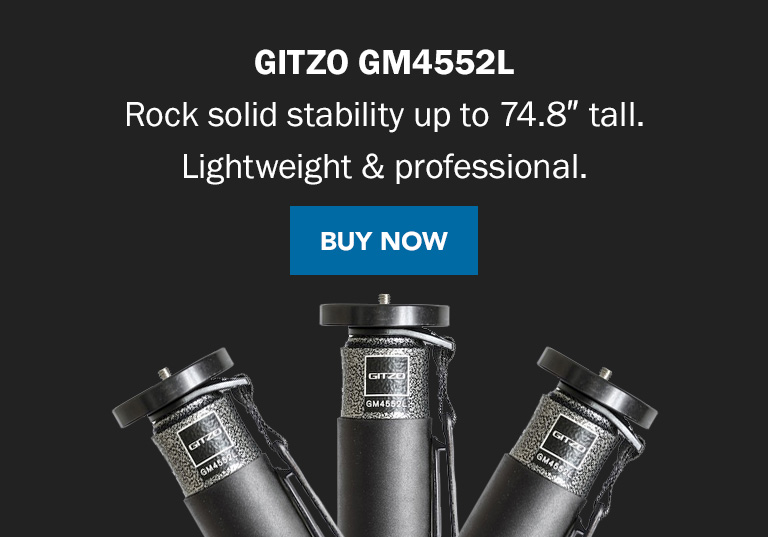 Gitzo GM4552L | Rock solid stability up to 74.8 inches tall. Lightweight and professional. Buy Now