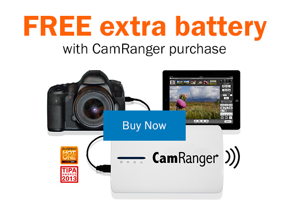 Free extra battery with CamRanger purchase. Buy Now >