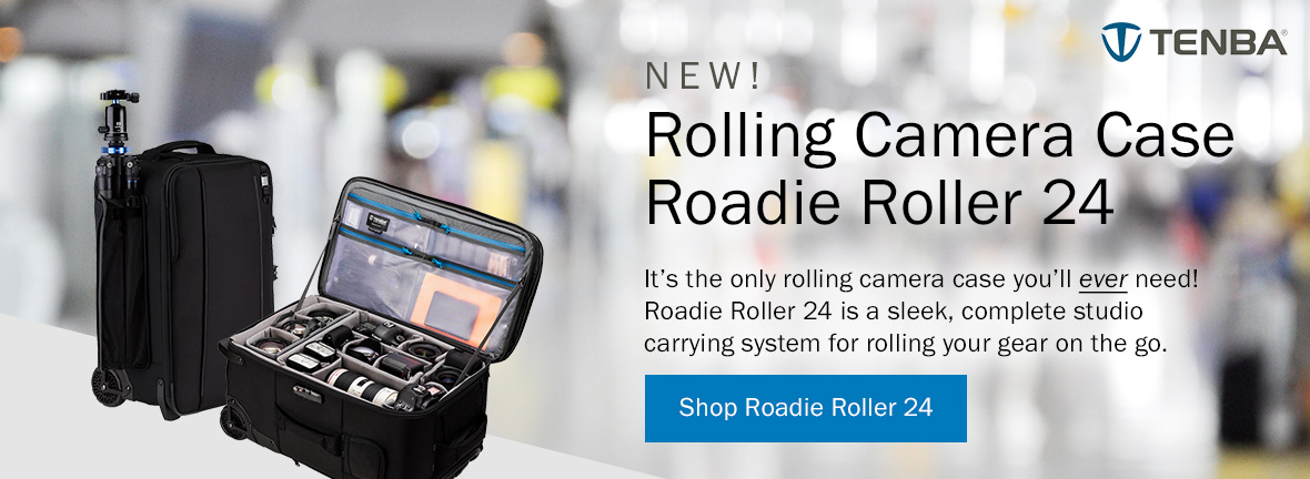 New! Rolling Camera Case Roadie Roller 24 by Tenba | It's the only rolling camera case you'll ever need! Roadie Roller 24 is a sleek, complete studio carrying system for rolling your gear on the go. Shop Roadie Roller 24 >
